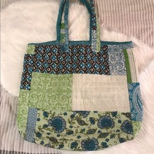 Quilted floral tote bag